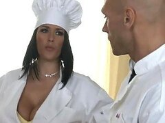 Chef Fucks Brunette With Huge Knockers In The Kitchen