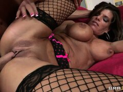 Horny brunette in fishnet stocking rides cock in a hardcore fuck scene