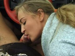 Cock sucking for this hot blonde euro babe