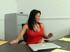Busty brunette enjoys sucking and riding a cock in an office