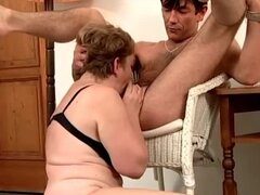 Ball sucking old lady fucked by his young cock
