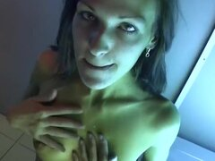 Turned on cock loving slender brunette Dasi West with natural boobs and long sexy legs enjoys having hot lusty sixty nine session with her horny hubby in sun booth.