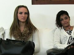 Lesbian amateur girls fucked by fakeagent on couch