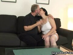 Young man and old guy fuck mature