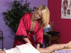 Blonde masseuse slut giving a handjob to a very lucky costumer