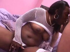 Naughty Black girl gets her hairy pussy fucked hard