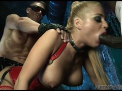 Fine as all fuck blonde slave in a corset rides a dick balls deep
