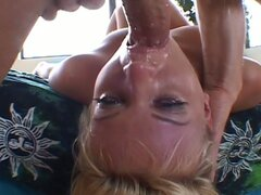 Blonde is throat fucked hard and then banged