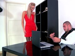 Adorable blonde gets nailed at work