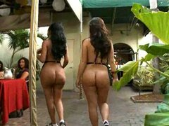 Feisty whores Lacey Duvalle and Kristina Rose walk in a restaurant naked and suck dicks on a public
