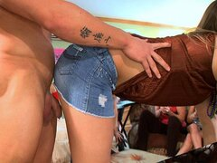 A party full of randy college chicks invite a guy in as they want to share a wang