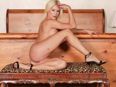 Lauren Kain the blondie stunner has her legs and flaps opened by a huge hose