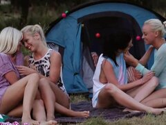 Small titted lesbians from Holland have fun outdoors