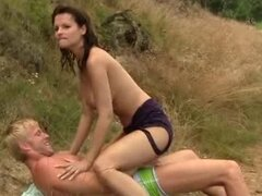Teen Rita gets fucked and jizzed outdoors