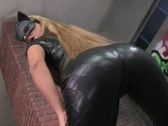 Booty and horny catwoman loves touching her pussy
