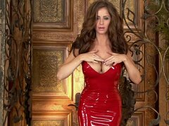 Emily in some pretty red latex