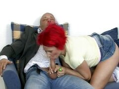German redhead teen fucked by two nasty guys