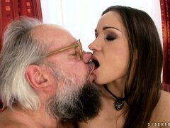 Young brunette gives an old man some nice head and gets licked