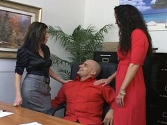 Two hot office babes fuck the boss