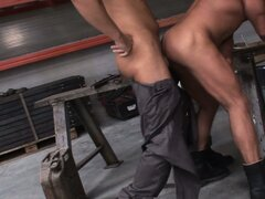 Hot action in the garage with nasty grease monkey boys banging tight ass