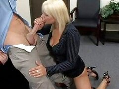 Bitchy office babe Veronika Raquel gets her mouth hooked up on a meaty cock