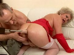 Lewd granny Effie gets her hairy pussy and ass stuffed with dildos