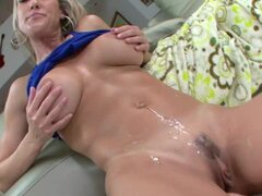 Luscious Brandi Love gets splattered with warm cum