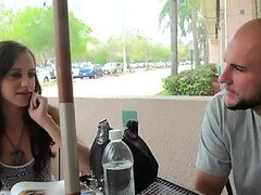Naughty Ashlynn Taylor meets a guy in a cafe and fuck him for money