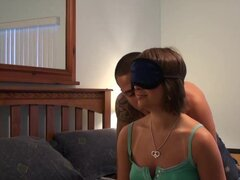 Blindfold babe Amy Anderson riding on hot cock