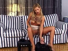 Hot model is riding on the fucking machine