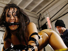 In a mechanics garage this dirty busty whore Charley Chase loves to get fucking mistreated and fucked when it comes to customer service. We fucked this cunt hard and fast, taped her to some cold hard metal equipment and made this bitch gush like an oil le