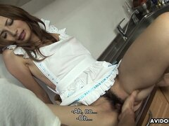 Shiori Ayase mastering her oral skills and getting fucked in kitchen
