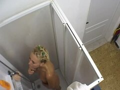 Cute blonde lesbo chicks got caught taking a shower together