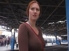 Public sex with red haired amateur
