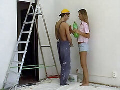 A hottie that is having her wall painted can't stop herself and rides the painter
