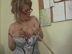 Mature office boss forces him fuck her