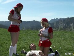 These two gorgeous blondes with curvy bodies are on the field to get some action
