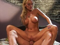 Monica Mayhem blond chick bouncing up and down