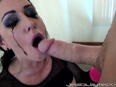 Brand new dark tart tongues her hungry slime slurp with a long dong