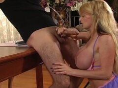 Busty blonde babe fucked by a bearded hunk