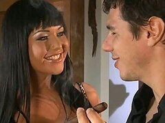 Busty Brunette Angelica Heart Gives a Blowjob and Has Fully Clothes Sex