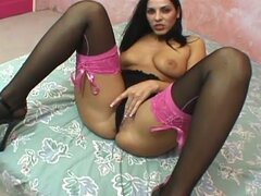 Hot brunette with stockings gets fucked hard