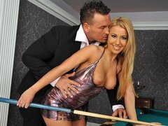 A randy dude takes his hot missus to play pool but they bang on the table instead
