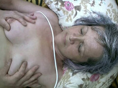 Ugly unshaved granny fucks missionary with young stud