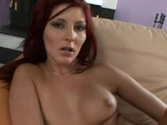 Hot milf Tara Red strips and fucks her pussy with a dildo