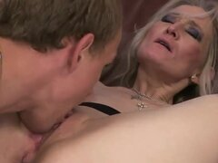 Mature blondie with great forms of body gives deep throat fellatio to younger stud making him turned on. He licks her pussy before starting to stuff it by his fat rod.