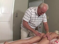 Busty blonde Madison Scott being fucked by old guy