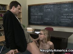Nicole Ray takes her grade from an F to an A with a blowjob on the teacher