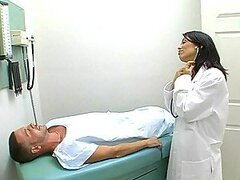 Sexy brunette doctor fucks her patient to heal him