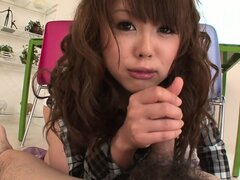 Asian cutie with pretty eyes gives her lover a sexy POV blowjob